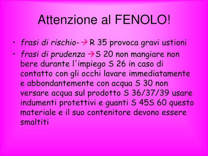Attenzione al FENOLO!