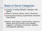 basis of genre categories