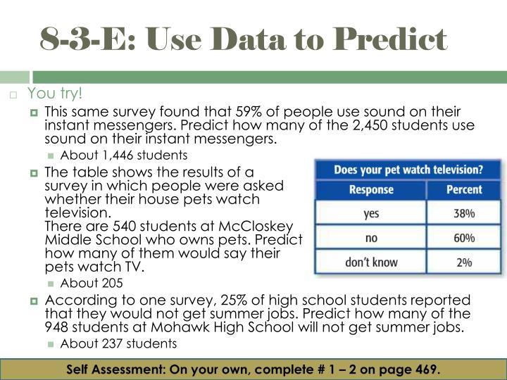 8-3-E: Use Data to Predict