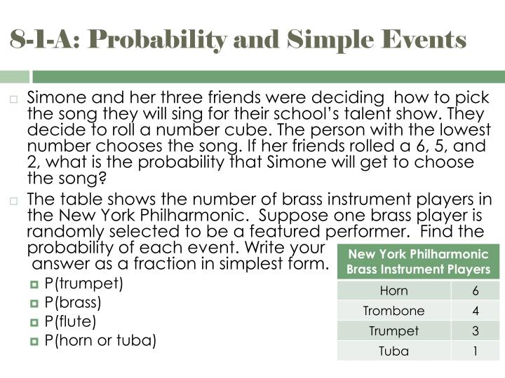 8-1-A: Probability and Simple Events