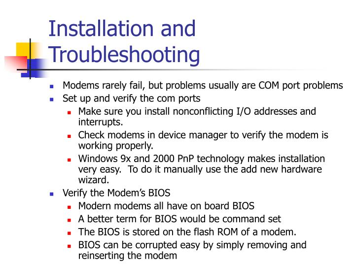 Installation and Troubleshooting