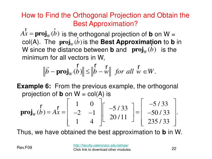 How to Find the Orthogonal Projection and Obtain the Best Approximation?