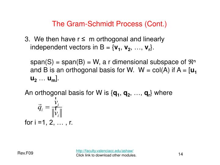 The Gram-Schmidt Process (Cont.)