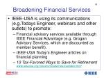 broadening financial services