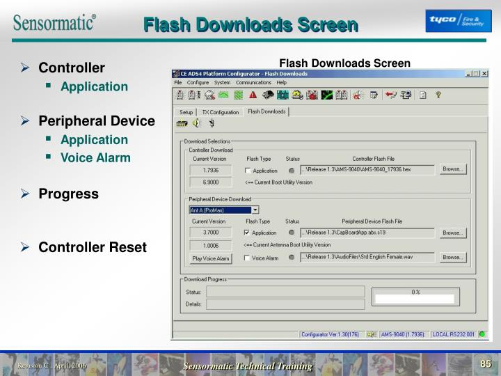 Flash Downloads Screen