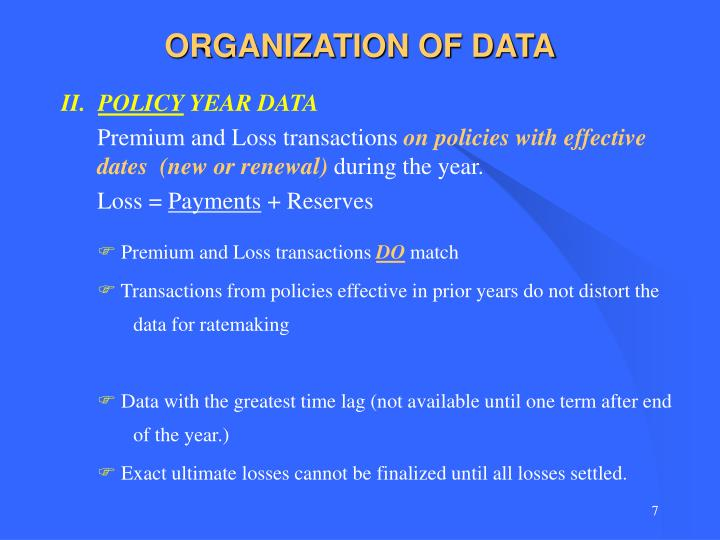 ORGANIZATION OF DATA