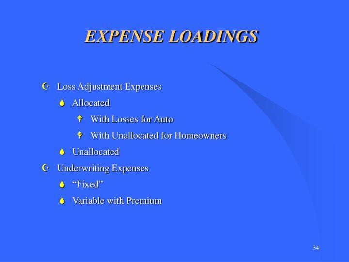 EXPENSE LOADINGS