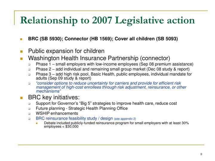 Relationship to 2007 Legislative action
