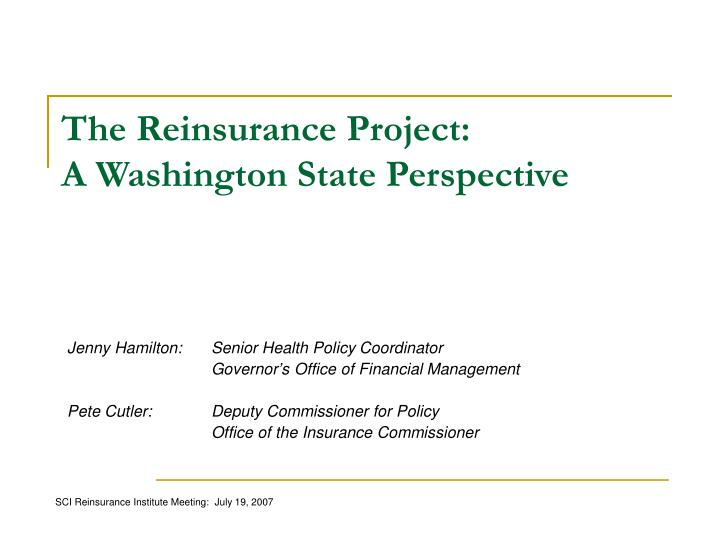 The Reinsurance Project: