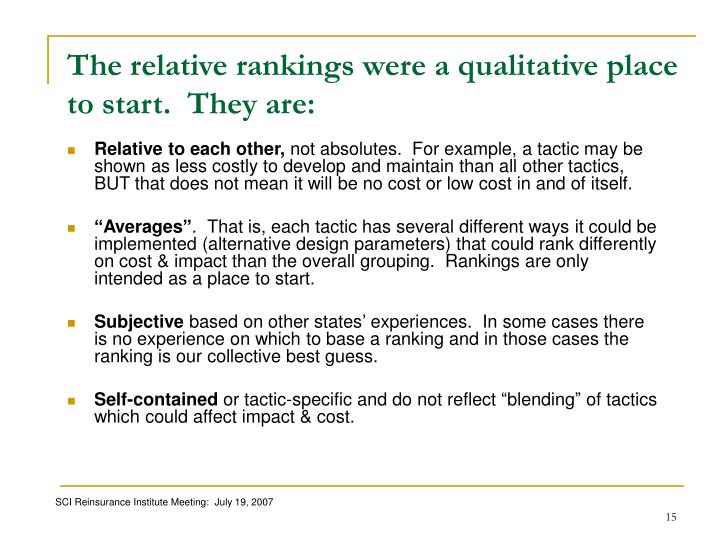 The relative rankings were a qualitative place to start.  They are: