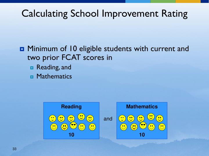 Minimum of 10 eligible students with current and two prior FCAT scores in