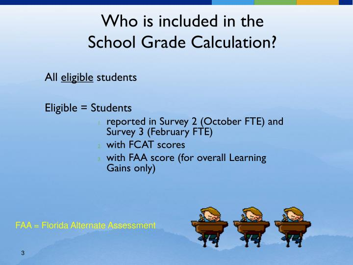 Who is included in the school grade calculation