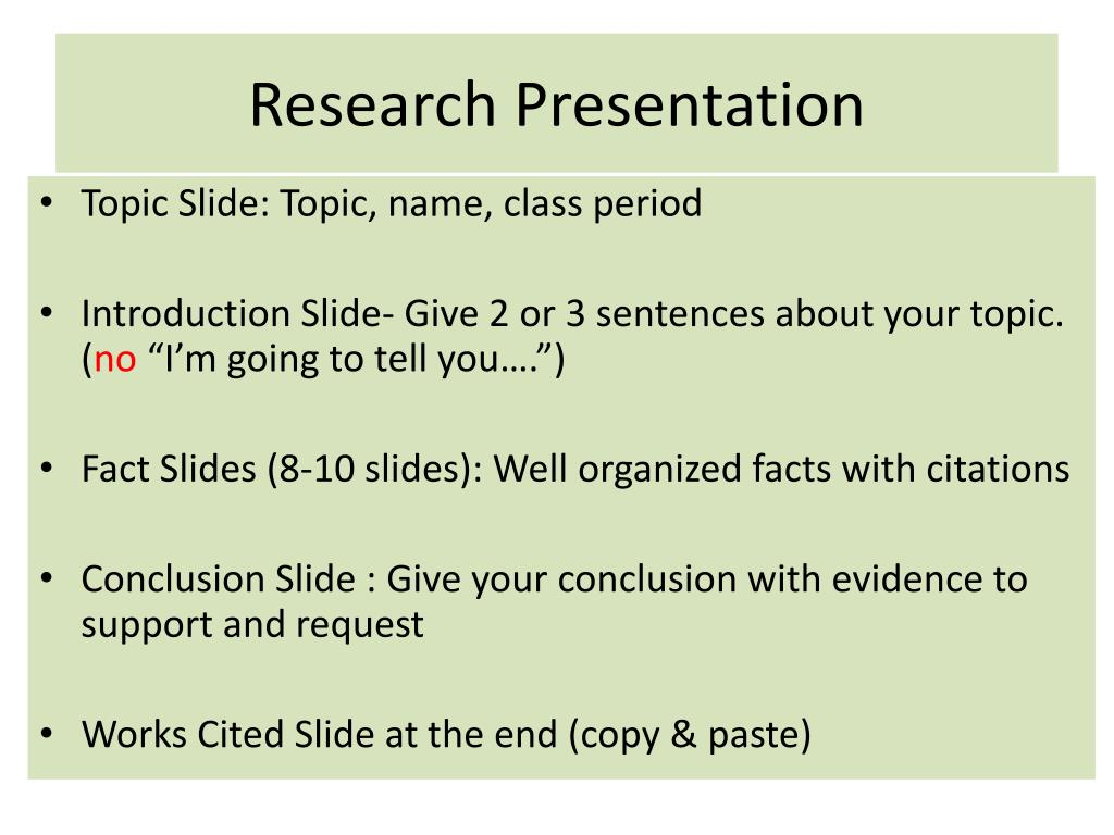 Research presentation powerpoint.