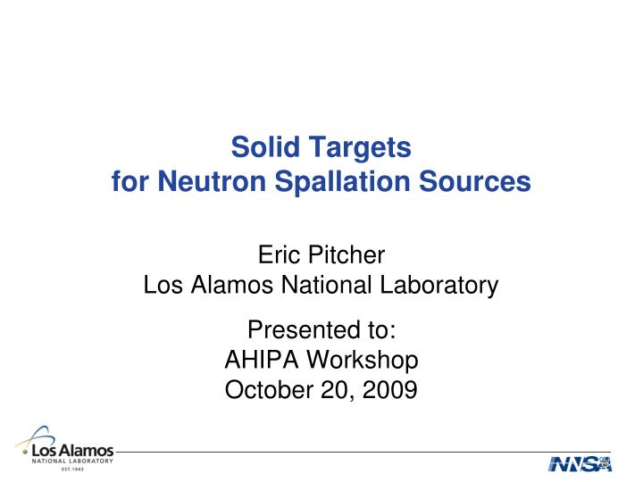 solid targets for neutron spallation sources n.