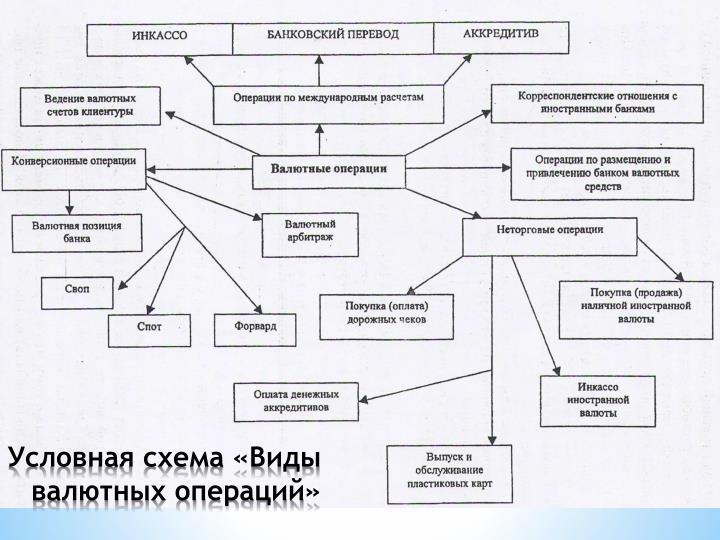Условная схема «Виды валютных операций»