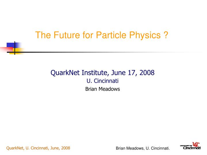 the future for particle physics n.