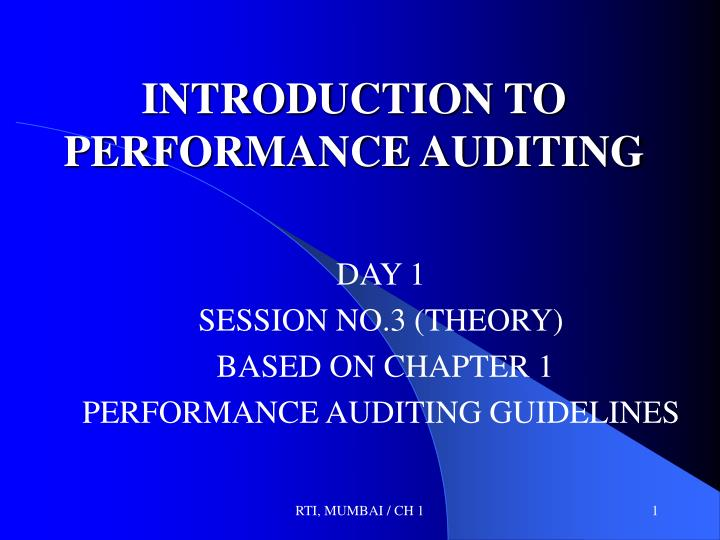 introduction to performance auditing n.