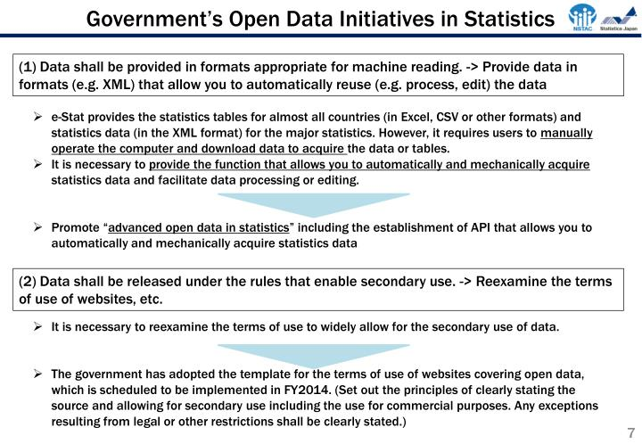 Government's Open Data Initiatives in Statistics