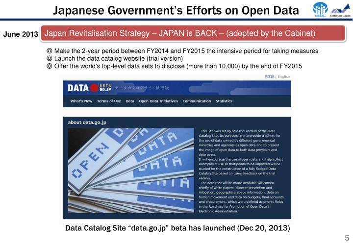 Japanese Government's Efforts on Open Data