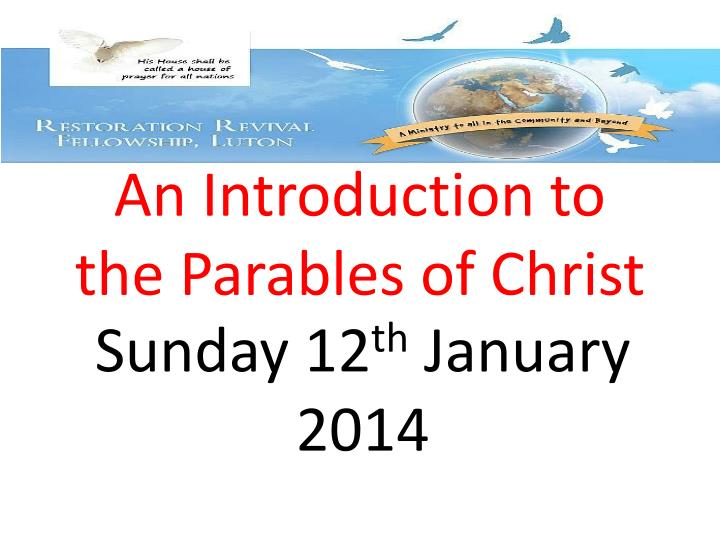 an introduction to the parables of christ n.