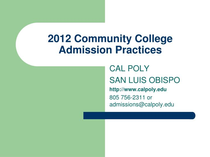 2012 community college admission practices n.