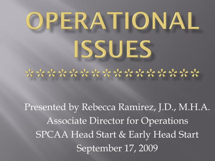 operational issues n.