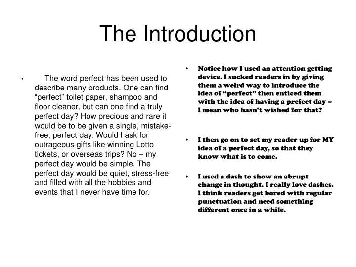 describe a perfect day essay