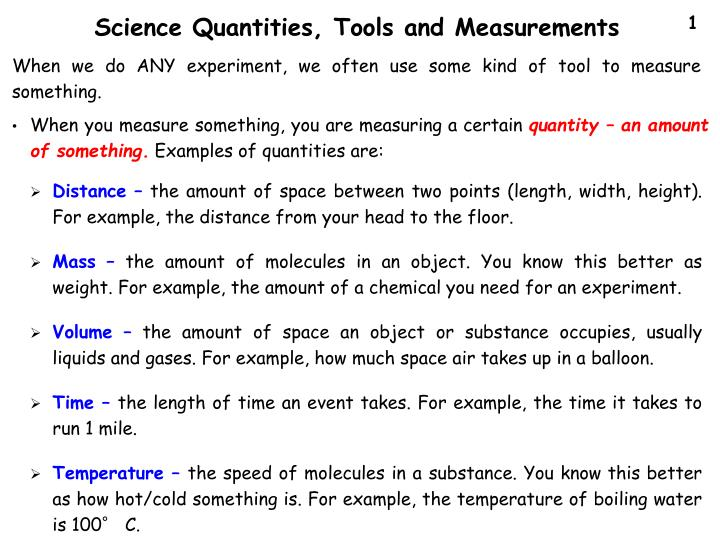 Science Quantities, Tools and Measurements