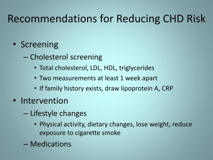 Recommendations for Reducing CHD Risk