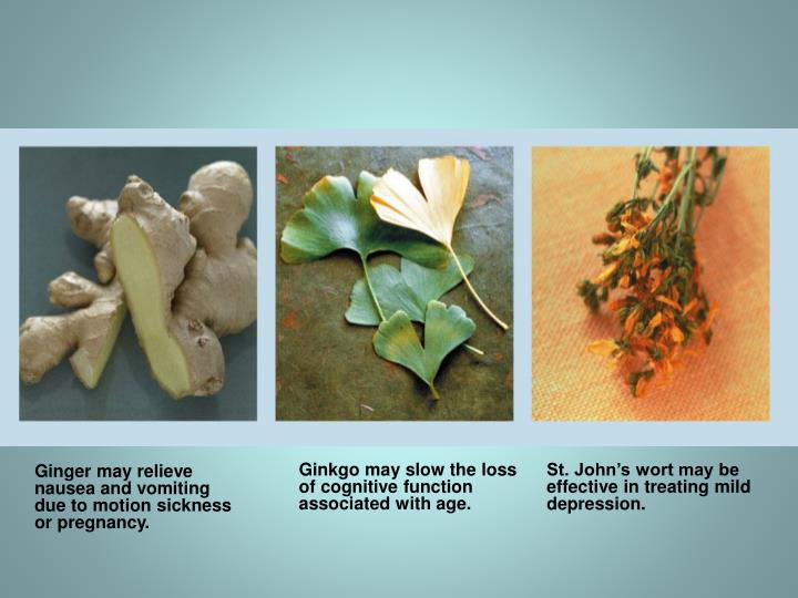 Ginkgo may slow the loss of cognitive function associated with age.