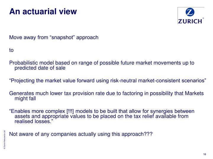 An actuarial view