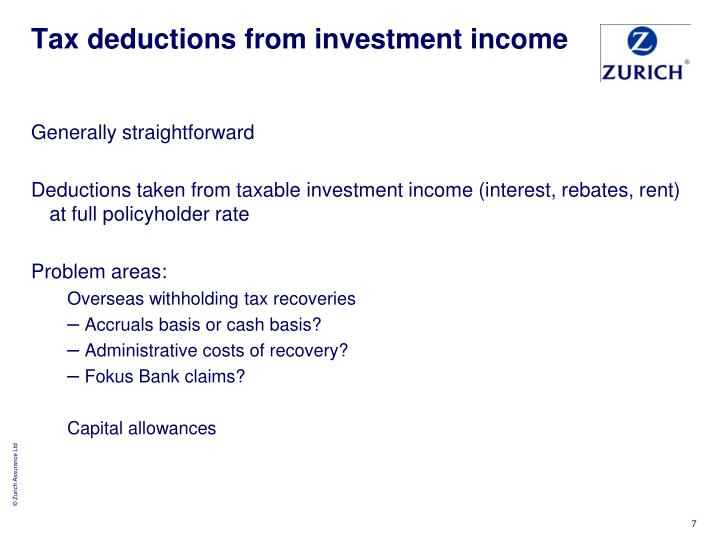 Tax deductions from investment income