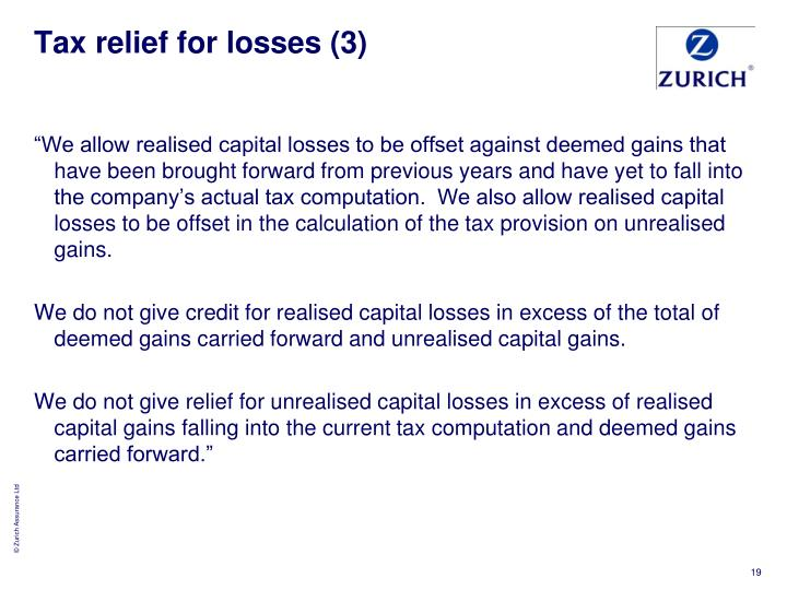 Tax relief for losses (3)