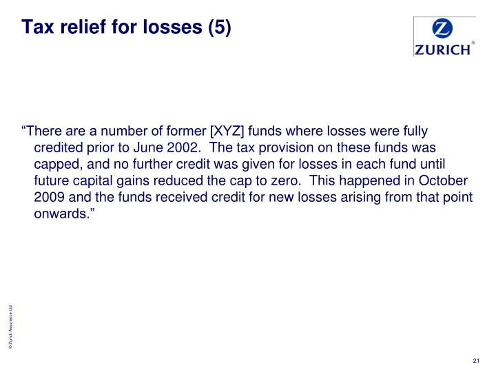 Tax relief for losses (5)