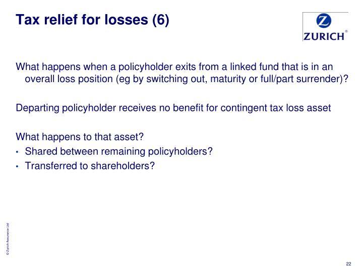 Tax relief for losses (6)
