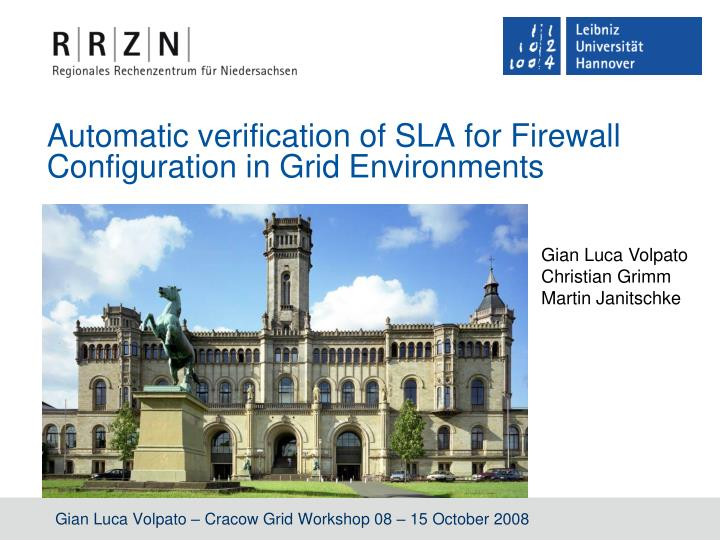 automatic verification of sla for firewall configuration in grid environments n.