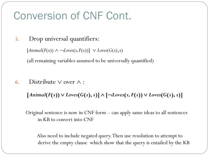 Conversion of CNF Cont.