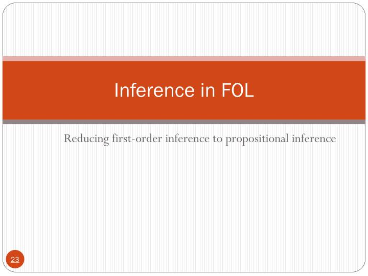 Inference in FOL