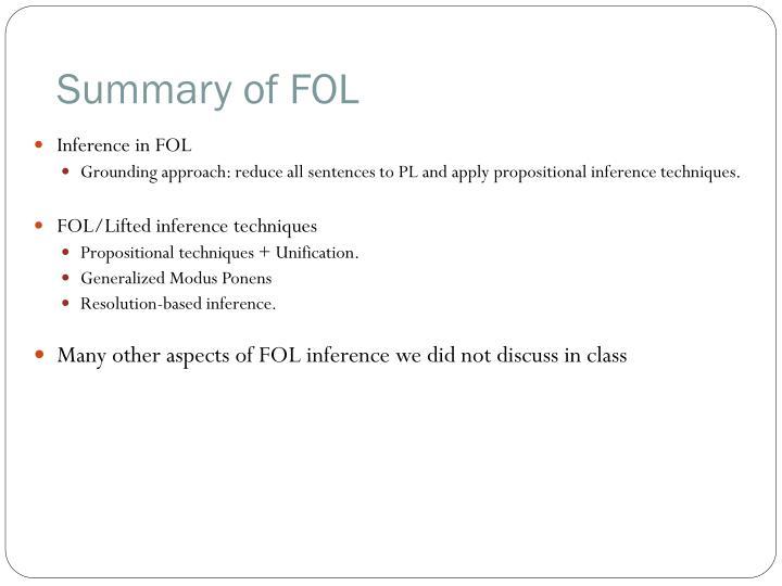 Summary of FOL