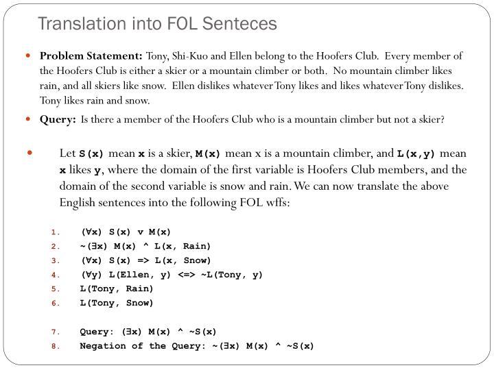 Translation into FOL Senteces