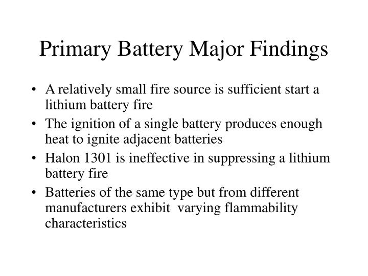 Primary battery major findings