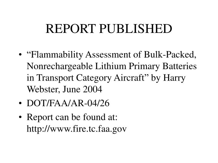 REPORT PUBLISHED