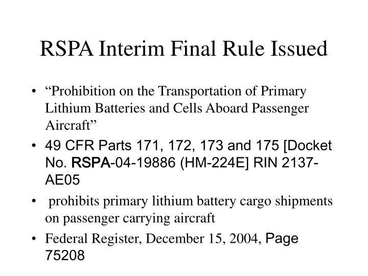 RSPA Interim Final Rule Issued