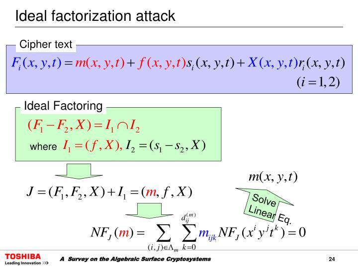 Ideal factorization attack