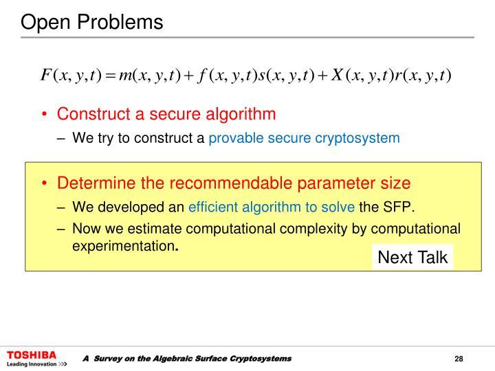 Construct a secure algorithm