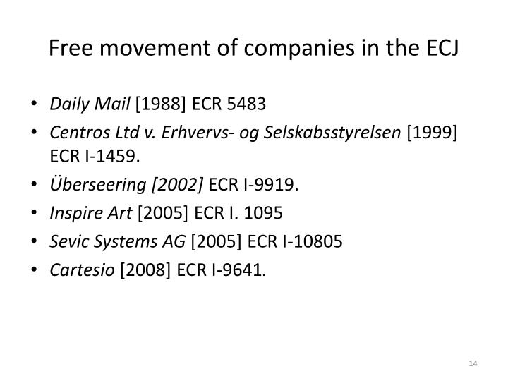 Free movement of companies in the ECJ