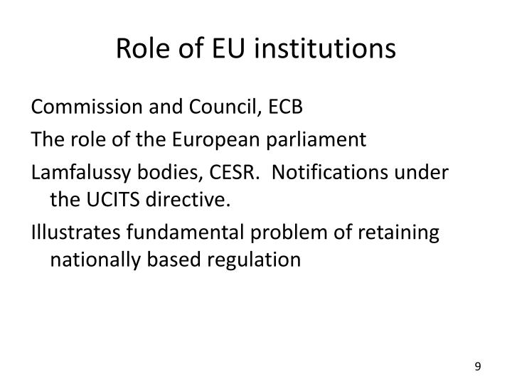 Role of EU institutions