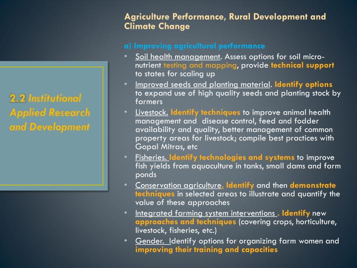 Agriculture Performance, Rural Development and Climate Change