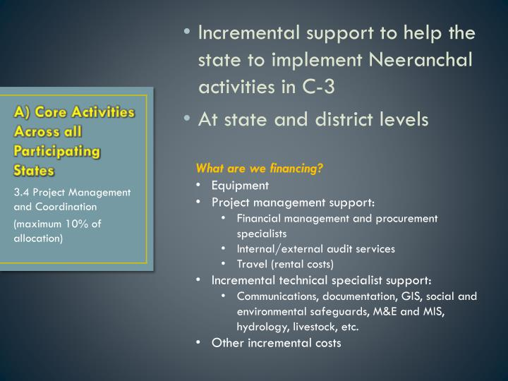 Incremental support to help the state to implement Neeranchal activities in C-3