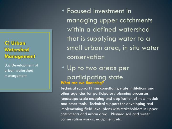 Focused investment in managing upper catchments within a defined watershed that is supplying water to a small urban area, in situ water conservation